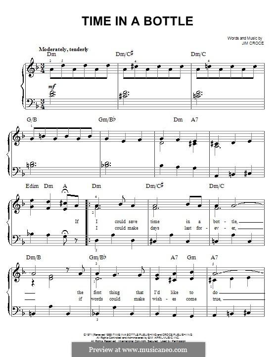 Time in a Bottle: Для начинающего пианиста by Jim Croce