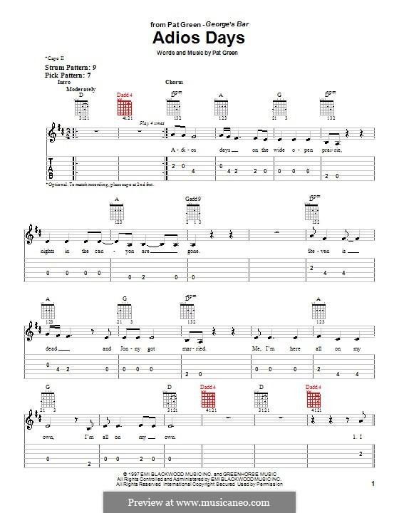 Adios Days: Для гитары (очень легкая версия) by Pat Green