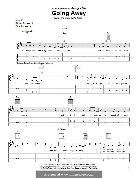 Going Away: Для гитары (очень легкая версия) by Pat Green