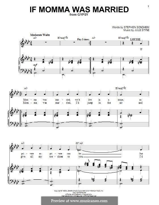 If Momma Was Married: Для голоса и фортепиано (или гитары) by Jule Styne
