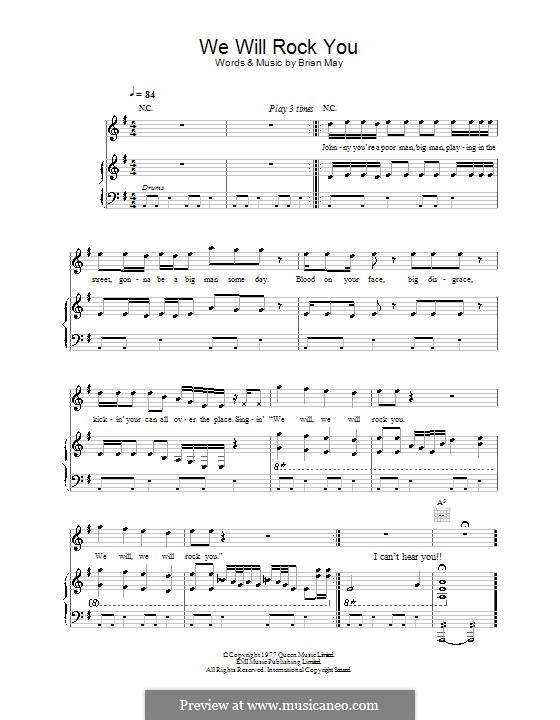 We Will Rock You (Queen): Для голоса и фортепиано (или гитары) by Brian May