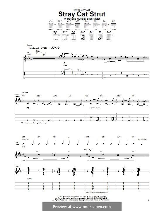 Stray Cat Strut (Stray Cats): Для гитары с табулатурой by Brian Setzer