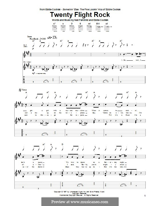 Twenty Flight Rock: Для гитары с табулатурой by Eddie Cochran, Ned Fairchild