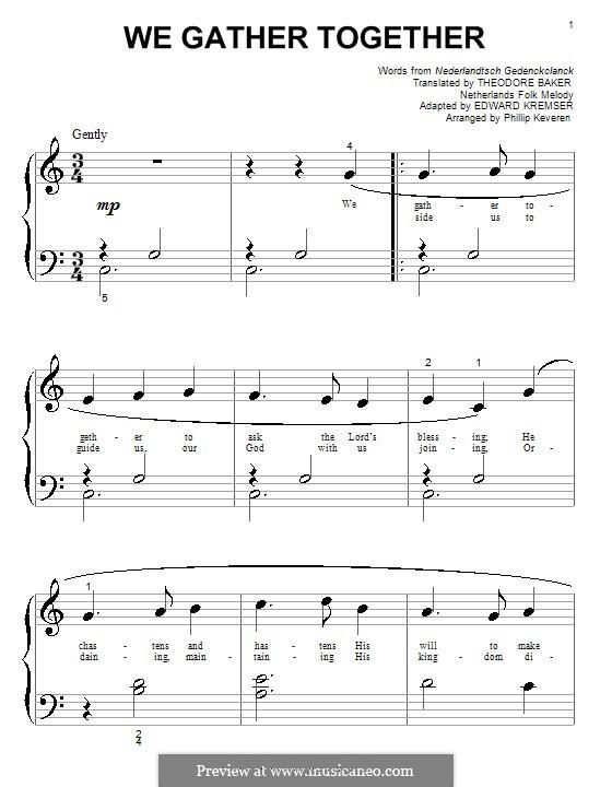 We Gather Together: Для фортепиано (очень легкая версия) by folklore