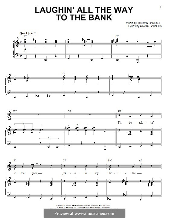 Laughin' All the Way to the Bank: Для голоса и фортепиано (или гитары) by Marvin Hamlisch