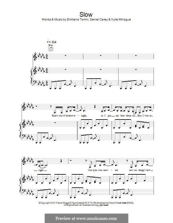 Slow (Kylie Minogue): Для голоса и фортепиано (или гитары) by Daniel Carey, Emiliana Torrini