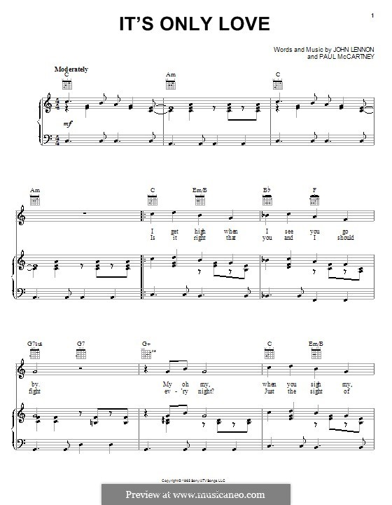 It's Only Love (The Beatles): Для голоса и фортепиано (или гитары) by John Lennon, Paul McCartney