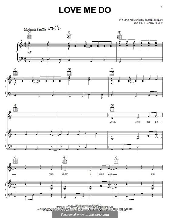 Love Me Do (The Beatles): Для голоса и фортепиано (или гитары) by John Lennon, Paul McCartney