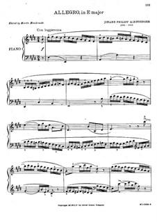 Аллегро для фортепиано ми мажор: Аллегро для фортепиано ми мажор by Иоганн Филипп Кирнбергер