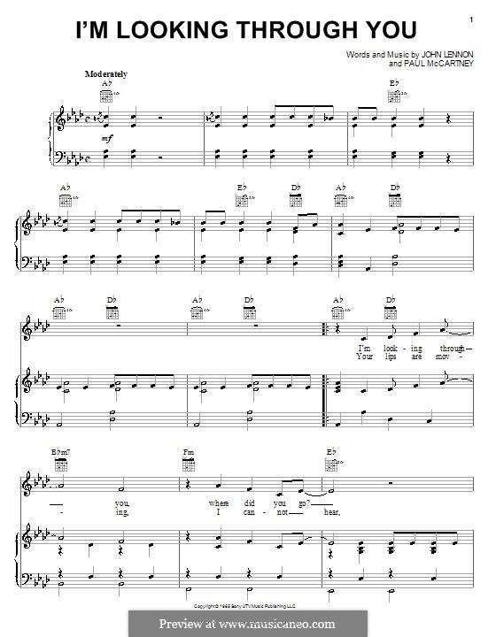 I'm Looking Through You (The Beatles): Для голоса и фортепиано (или гитары) by John Lennon, Paul McCartney