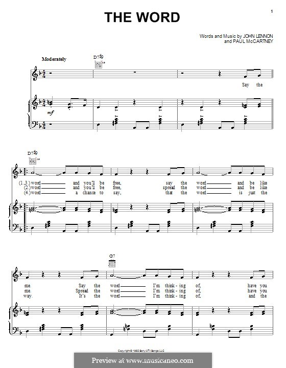 The Word (The Beatles): Для голоса и фортепиано (или гитары) by John Lennon, Paul McCartney