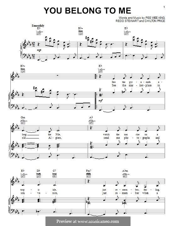 You Belong To Me (Patsy Cline): Для голоса и фортепиано (или гитары) by Chilton Price, Pee Wee King, Redd Stewart