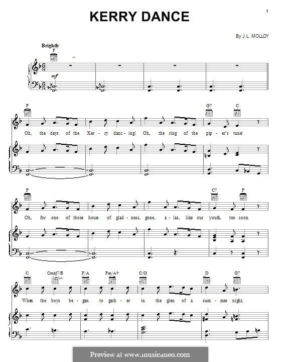 The Kerry Dance: Клавир с вокальной партией by James L. Molloy