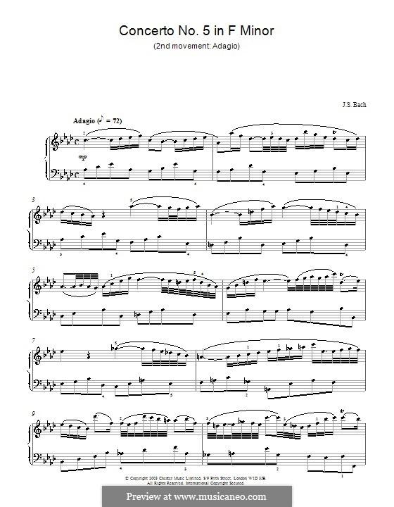 Концерт для клавесина и струнных No.5 фа минор, BWV 1056: Часть II. Переложение для фортепиано by Иоганн Себастьян Бах