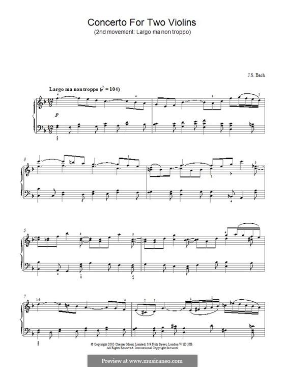 Двойной концерт для двух скрипок, струнных и бассо континуо ре минор, BWV 1043: Часть II. Версия для фортепиано by Иоганн Себастьян Бах