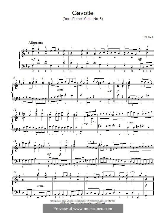 Сюита No.5 соль мажор, BWV 816: Гавот, для фортепиано by Иоганн Себастьян Бах