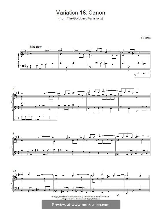 Вариации Гольдберга, BWV 988: No.18, для фортепиано by Иоганн Себастьян Бах