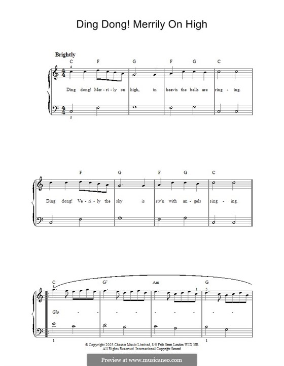 Ding Dong! Merrily on High (Printable Scores): Для фортепиано (легкий уровень) by folklore