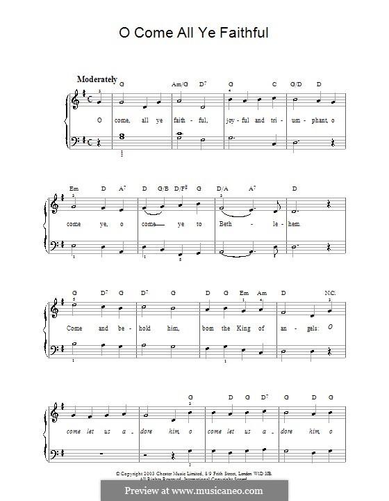 Придите к Младенцу, для фортепиано: Версия для начинающего пианиста (с аккордами) by Джон Фрэнсис Уэйд