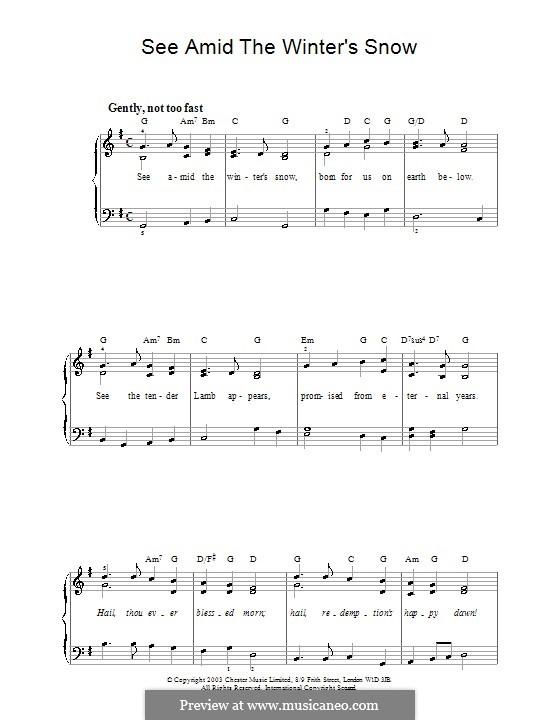 See Amid the Winter's Snow: Для фортепиано (легкий уровень) by John Goss