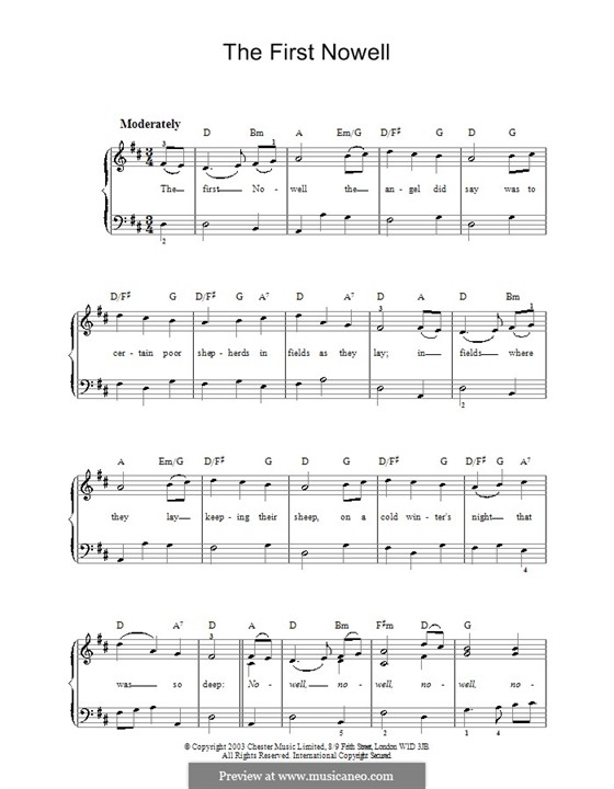 The First Nowell (The First Noël), for Piano: Легкая версия для фортепиано by folklore