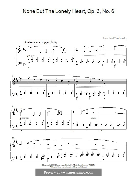 Шесть романсов, TH 93 Op.6: No.6 Нет, только тот, кто знал, для фортепиано by Петр Чайковский