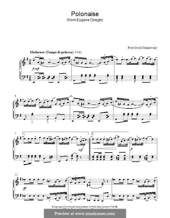 Акт III, No.19 Полонез: Аранжировка для фортепиано by Петр Чайковский