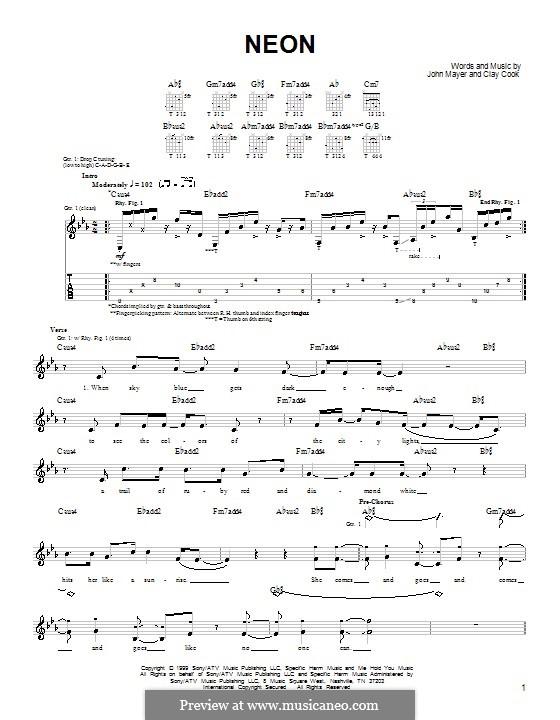 Neon: Для гитары (очень легкая версия) by Clay Cook