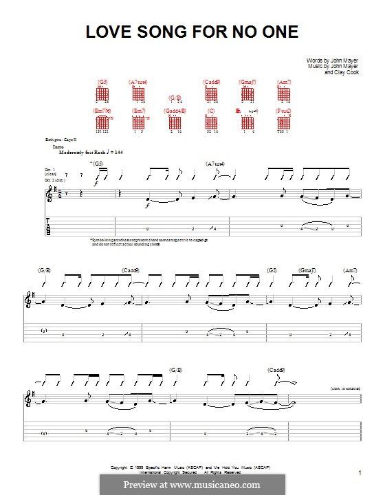 Love Song for No One: Для гитары (очень легкая версия) by Clay Cook