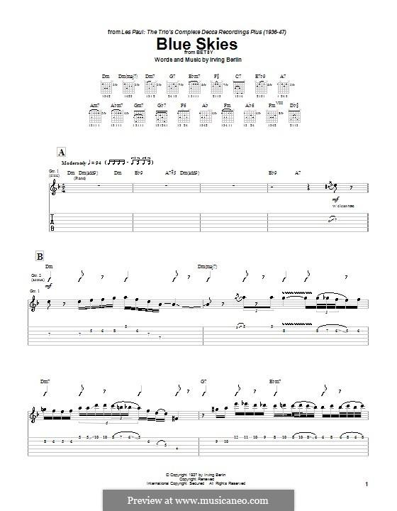 Blue Skies: Гитарная табулатура by Ирвинг Берлин