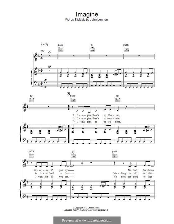 Imagine: Для голоса и фортепиано или гитары (фа мажор) by John Lennon