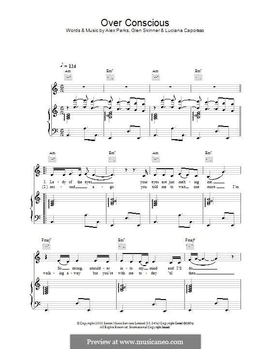 Over Conscious: Для голоса и фортепиано (или гитары) by Glen Skinner, Luciana Caporaso