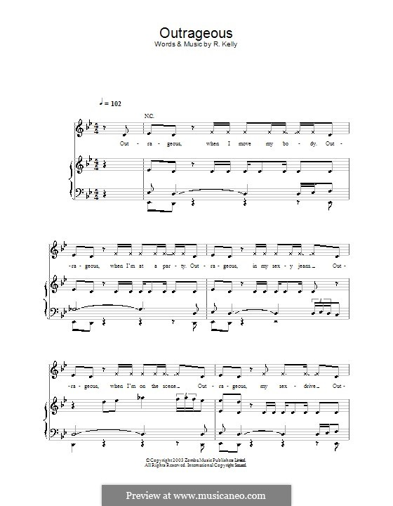 Outrageous (Britney Spears): Для голоса и фортепиано (или гитары) by Robert Kelly