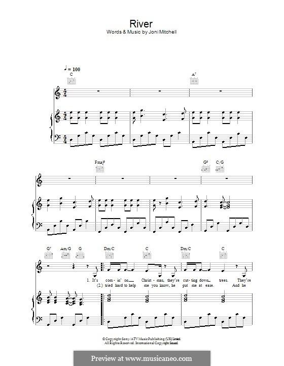 River: Для голоса и фортепиано (или гитары) by Joni Mitchell