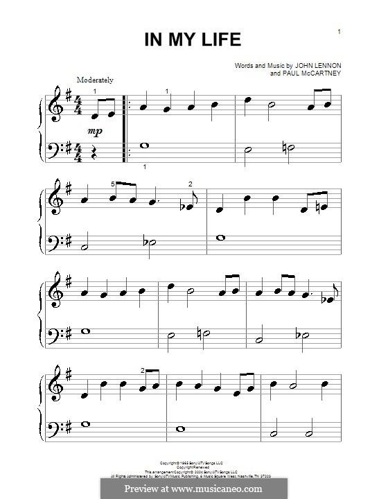 In My Life (The Beatles): Для фортепиано (очень легкая версия) by John Lennon, Paul McCartney