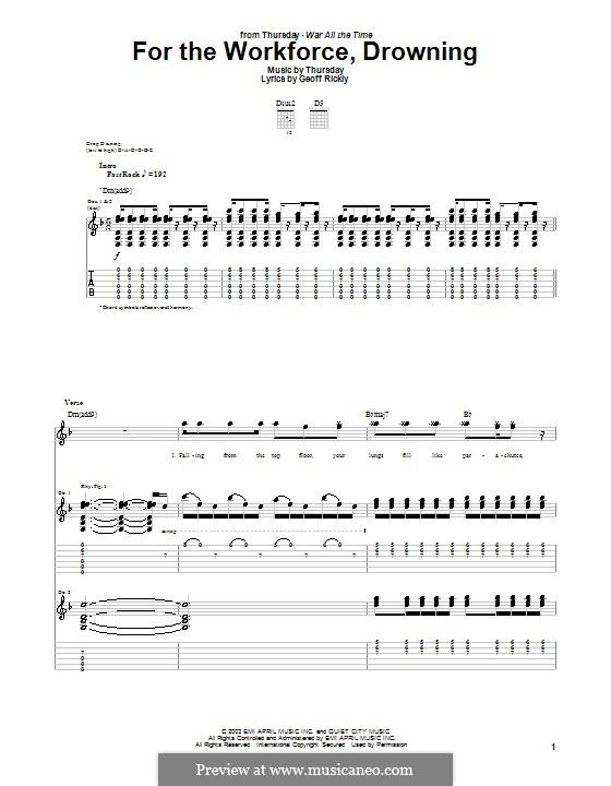 For the Workforce, Drowning (Thursday): Для гитары с табулатурой by Geoff Rickly