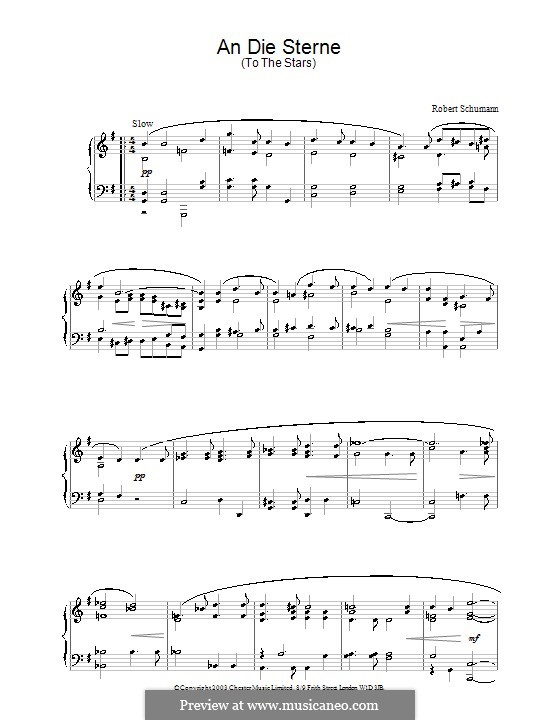 Четыре песни, Op.141: No.1 An die Sterne (To the Stars), for piano by Роберт Шуман