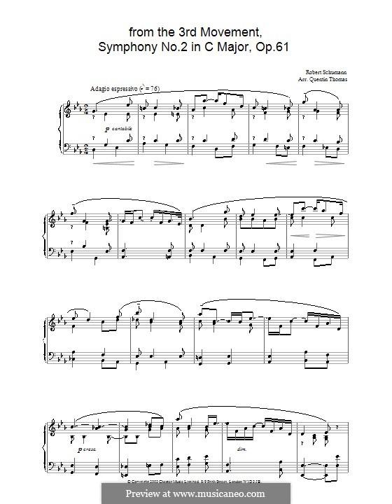 Симфония No.2 до мажор, Op.61: Часть III (Тема). Версия для фортепиано by Роберт Шуман