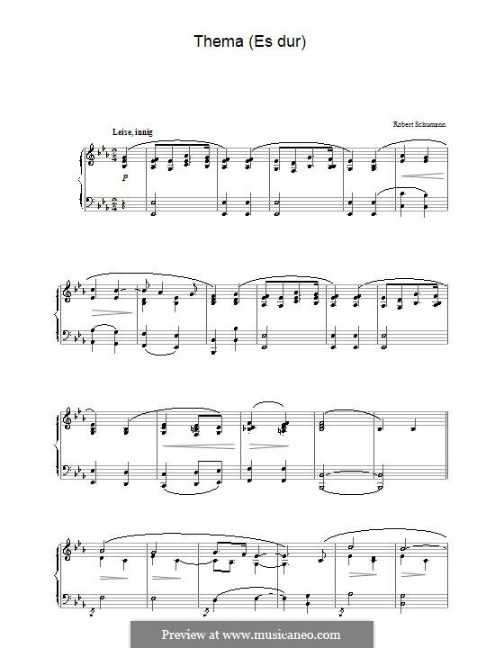 Тема ми-бемоль мажор: Для фортепиано by Роберт Шуман
