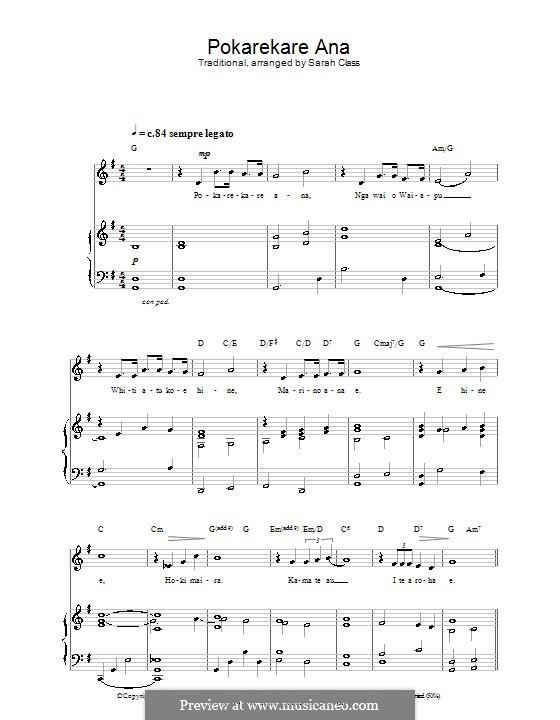 Pokarekare Ana: Для голоса и фортепиано (или гитары) by folklore