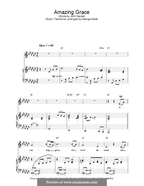 Amazing Grace (Printable Scores): Для голоса и фортепиано или гитары (G Flat Major) by folklore