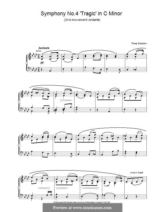 Симфония No.4 до минор 'Трагическая', D.417: Часть II (Тема). Версия для фортепиано by Франц Шуберт
