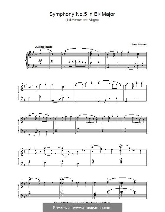Симфония No.5 си-бемоль мажор, D.485: Часть I. Версия для фортепиано by Франц Шуберт
