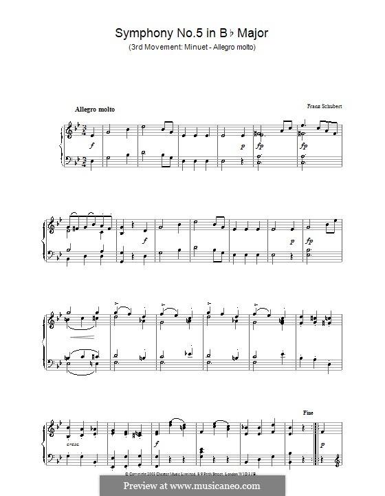 Симфония No.5 си-бемоль мажор, D.485: Часть III (Тема). Версия для фортепиано by Франц Шуберт