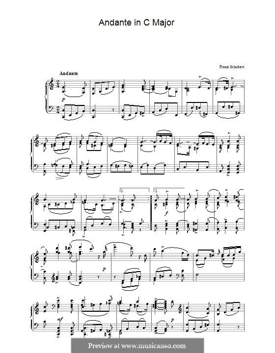Анданте для фортепиано до мажор, D.29: Для одного исполнителя by Франц Шуберт