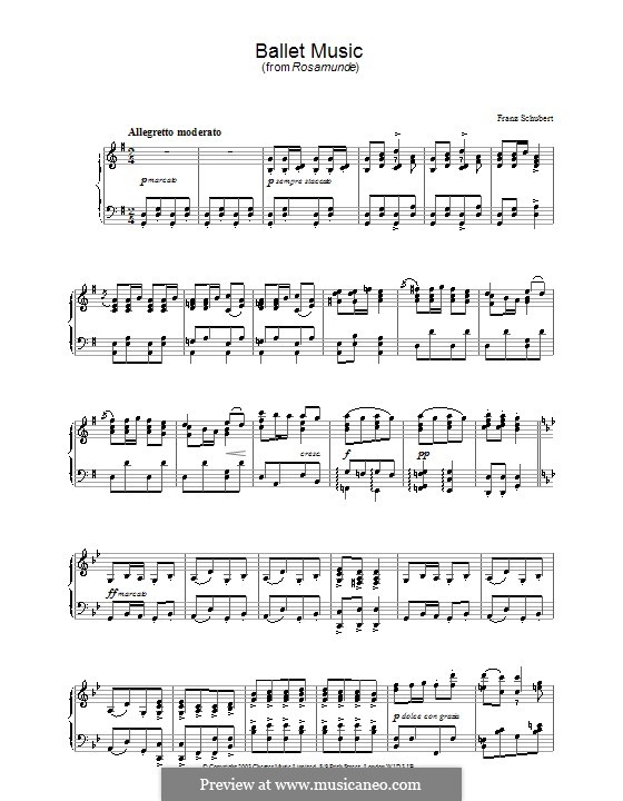 Фрагменты: Балетная музыка No.1, для фортепиано by Франц Шуберт