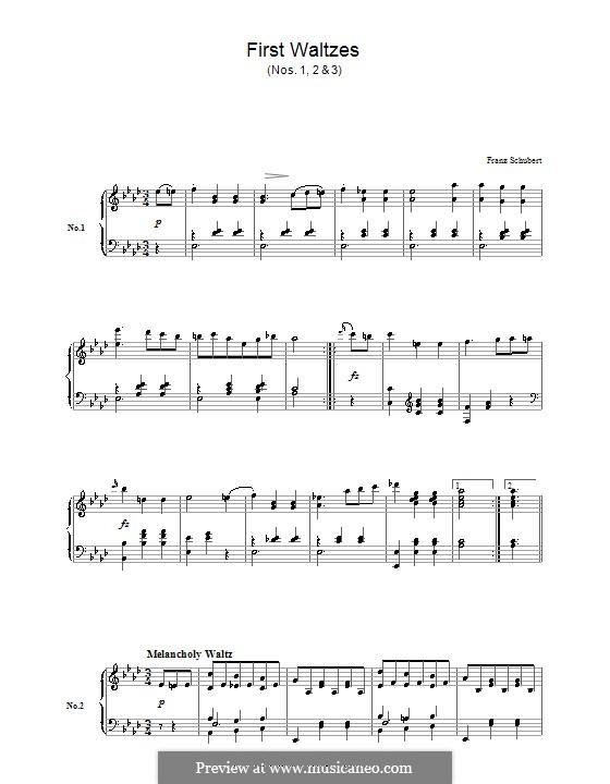 Восемнадцать вальсов для фортепиано, Op.9a: Вальсы No.1-3 by Франц Шуберт