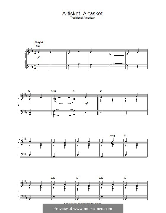 A-tisket, A-tasket: Для фортепиано by folklore