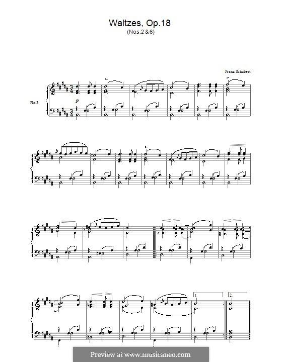 Двенадцать вальсов, семнадцать лендлеров и девять экосезов, D.145 Op.18: Вальсы No.2, 6 by Франц Шуберт