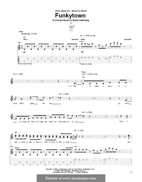 Funkytown (Lipps Inc.): Гитарная табулатура by Steven Greenberg